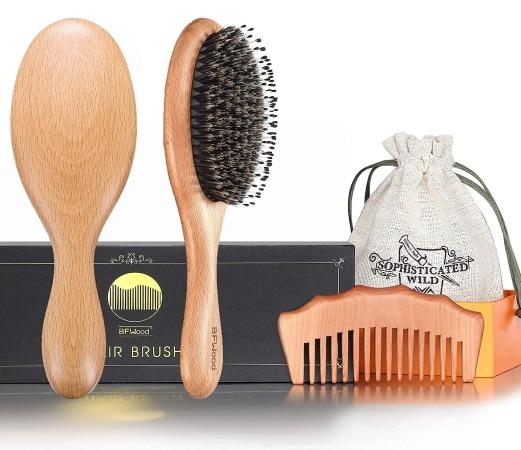 Peigne à cheveux BFWOOD soie de sanglier top3 bois naturel