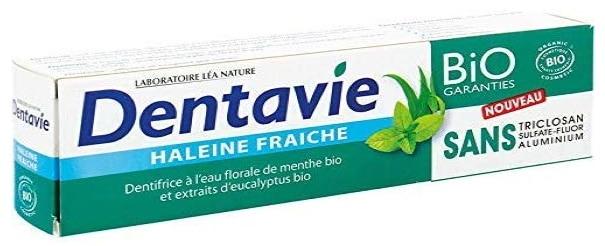 Dentifrice bio DENTAVIE haleine fraîche naturel menthe eucalyptus sans fluor