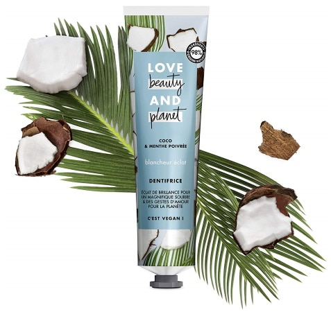 Dentifrice vegan LOVE AND BEAUTY blancheur naturel coco menthe brossage dents