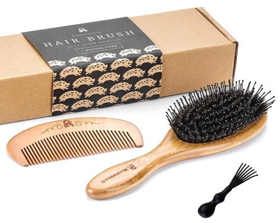 Peigne à cheveux MARBEIAN soie de sanglier top3 avec outil de nettoyage