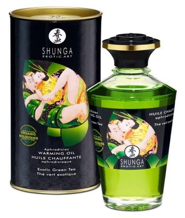 Huile comestible SHUNGA thé vert exotique massage chauffant 100 ml