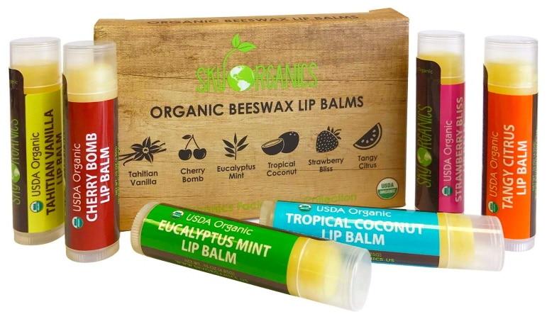 Baume lèvre naturel vanille cerise menthe noix de coco framboise et citron SKY ORGANICS bio top 4