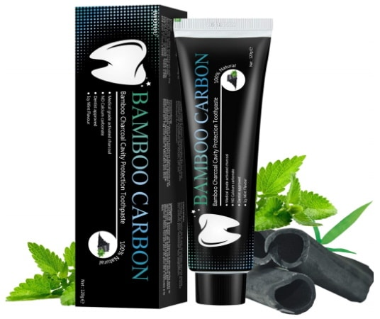 Dentifrice charbon naturel BAMBOU CARBON blanchissant dents 100% sans fluor anti tartre