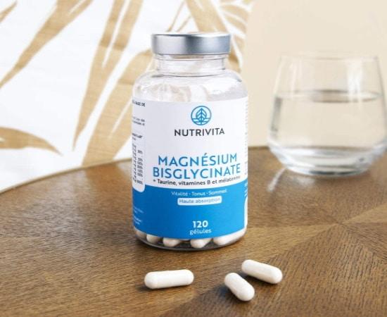 Meilleur magnésium absorption, formule bisglycinate avec complément en vitamines B et taurine, pour meilleure vitalité et tonus en santé
