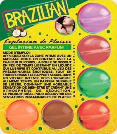Boules de massage brésiliennes aromatisées gel intime avec parfum plaisir, chaleur du corps, lubrifie, jeux sensuels et intenses couples top4