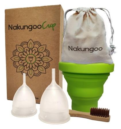 Coupe menstruelle bio avec stérilisateur et brosse de nettoyage NAKUNGOO CUP, pour hygiène intime des femmes, pour se passer des tampons hygiéniques