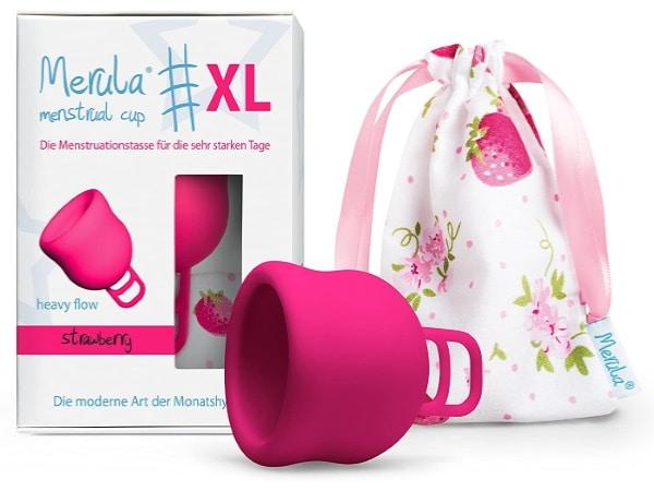 Coupe menstruelle flux abondant XL femme MERULA CUP, pour journée règles intenses féminines, protection hygiénique remplacement tampons féminins