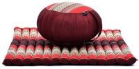 Coussin de méditation rond zafu épais, pour débuter confortablement exercices, avec grand tapis zabuton pour méditer, et matériaux naturels