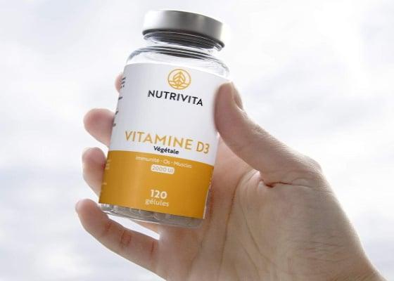 D3 vitamine lichen végétal cure 4 mois 2000UI, made in France en boite 120 gélule, biodisponible pour soutenir système immunitaire, musculaire, et osseux