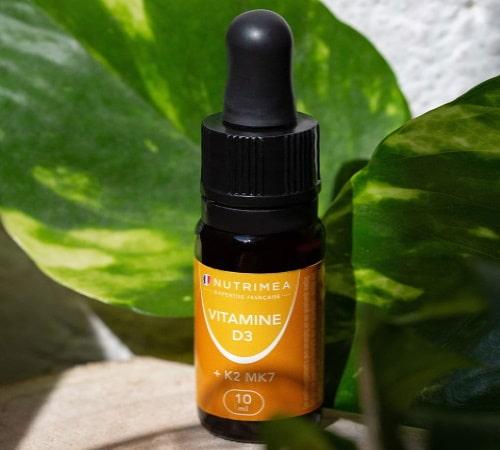 D3 vitamine avec K2 mk7 végétal naturel pour soutenir système immunitaire, fabriqué en france en flacon goutte 10 ml pour dosage jour 1000UI