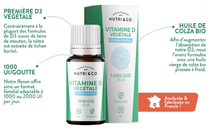 D3 vitamine végétale à huile de colza BIO, extraite du lichen boréal, flacon 1000 ou 2000UI par jour, fabriqué en France pour immunité, os, et muscles