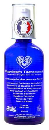 Huile de magnésium transcutané Zechstein dans bouteille en verre, flacon spray pratique, entreprise française, de santé