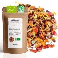 Infusion BIO à la grenade et mangue en vrac, marque française produit certifié 100% agriculture biologique, thé naturel vrac 100g, saveur naturel