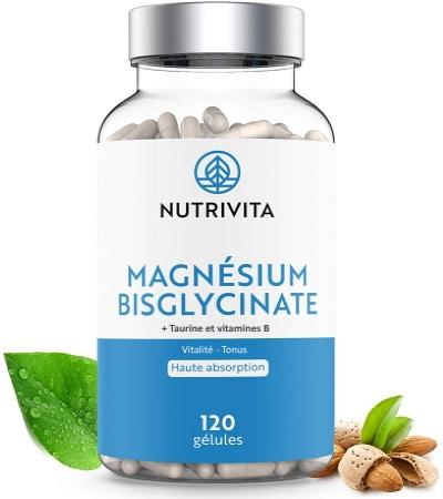Magnésium bisglycinate avec vitamine B et taurine de NUTRIVITA, formule haute absorption, pour vitalité et tonus en corrigeant déficit mg santé