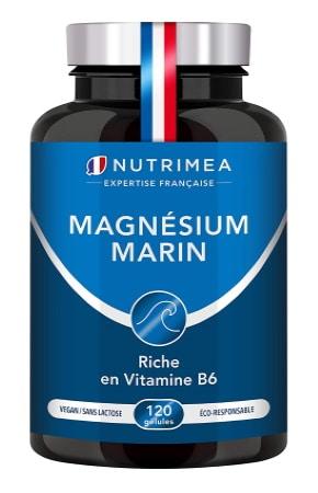 Magnésium marin avec vitamine B6, fabriqué en france, ingrédient naturel et gélule origine végétale NUTRIMEA, aide à combattre fatigue efficacement