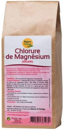 Chlorure de magnésium naturel nigari, poudre blanche issu de mer, complément alimentaire bon marché pour corriger déficit magnésium santé
