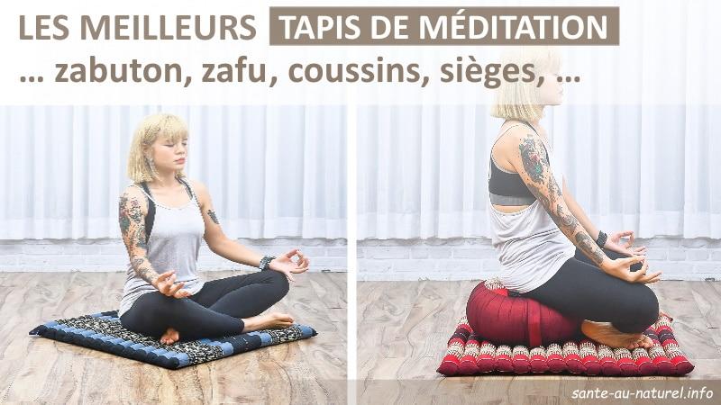 Les meilleurs tapis de méditation et coussin rond, zabuton et zafu, pour méditer assis comme il faut ou pour pas cher, pouvant servir au yoga aussi