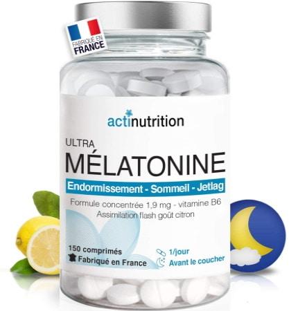 Comprimés de mélatonine fabriqué en France ACTI NUTRITION, pour favoriser endormissement, nuit de sommeil, avec vitamine B6 et dosé à 1.9 mg jour