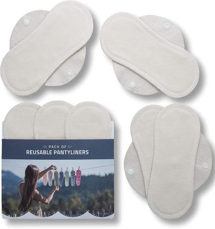 Protège-slip lavable bambou blanc fabriqué en Europe réutilisable avec pression en tissu usage quotidien protection fuite urinaires top3