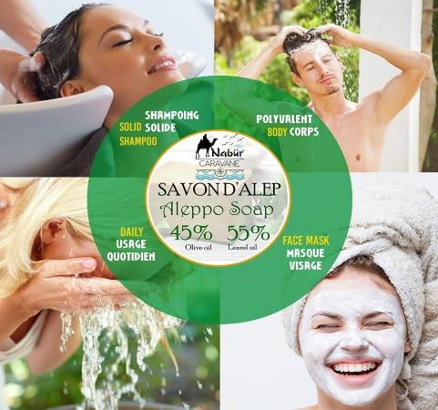 Utilisation du savon d'alep, pour le visage, la peau, sous la douche, ou en shampoing TOP5