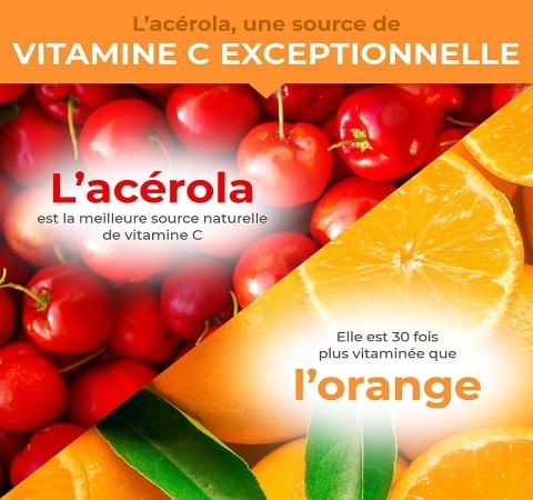 Comparer acérola et orange, source de vitamine C exceptionnelle, santé naturelle vitaminée, aussi BIO et vegan top4