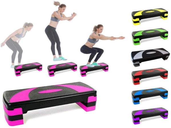 Stepper horizontal réglable en hauteur pour faire sport aérobic ou fitness à la maison, pour exercices step chez soi avec travail des muscles top3