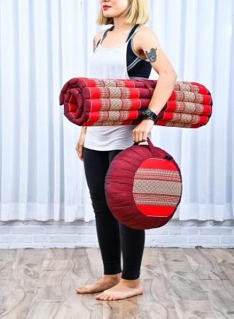 Tapis méditation pliable avec coussin pour mettre sous les fesses, transportable avec sangle, idéal pour méditer facilement ou pratiquer le yoga