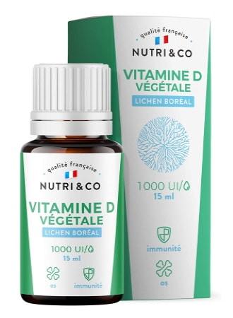 Vitamine D3 bio 1000UI en gouttes, à base de lichen boréal et huile de colza BIO, complément vegan, dosage facile 15ml, pour correction déficit