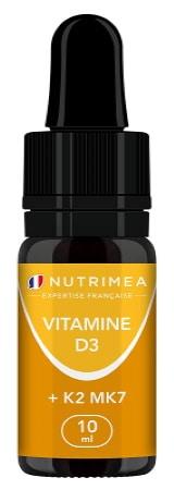 Vitamine D3 K2 MK7 en gouttes, fabriqué en france, origine naturelle avec huile d'olive bio, flacon 10ml, dosage 400UI à 2000UI environ